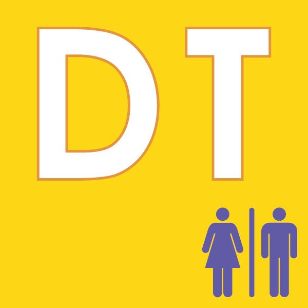 pictogramme DT sur fond jaune avec deux personnes violet
