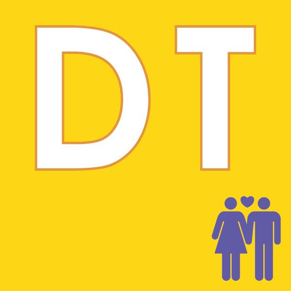 pictogramme DT sur fond jaune avec couple violet