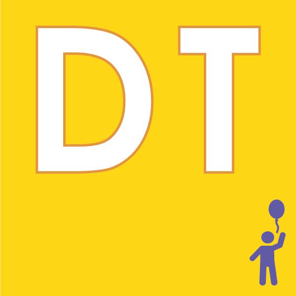 pictogramme DT sur fond jaune avec enfant violet