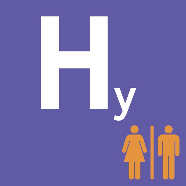 pictogramme Hy sur fond violet avec deux personnes orange