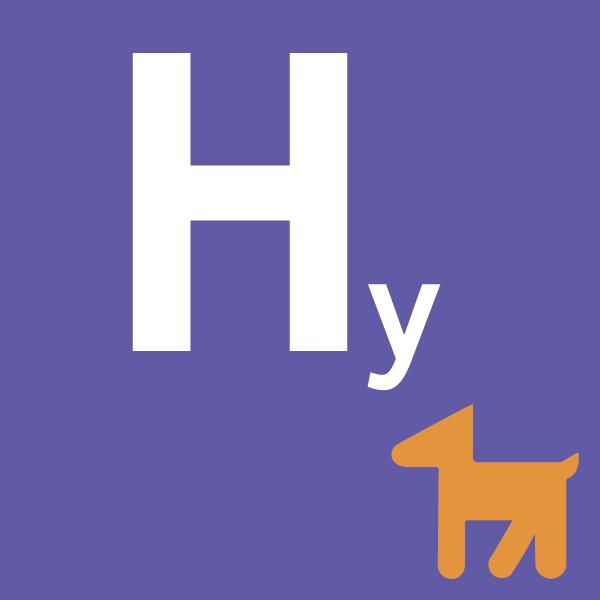 pictogramme Hy sur fond violet avec chien orange