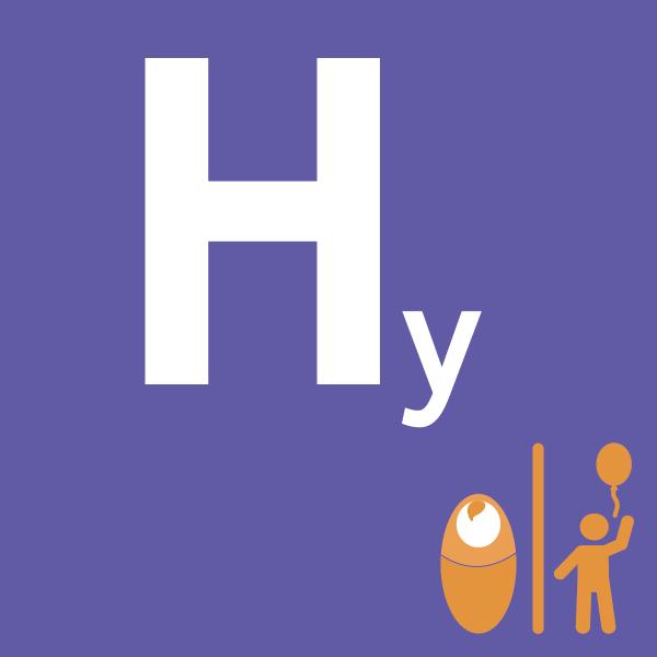 pictogramme Hy sur fond violet avec bébé et enfant orange