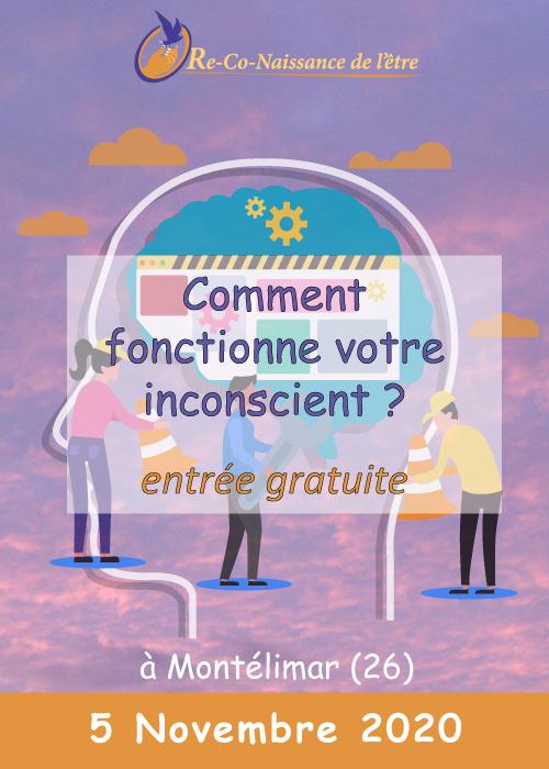 Évènements Re-Co-Naissance de l'Être affiche conférence Comment fonctionne votre inconscient 5 novembre 2020