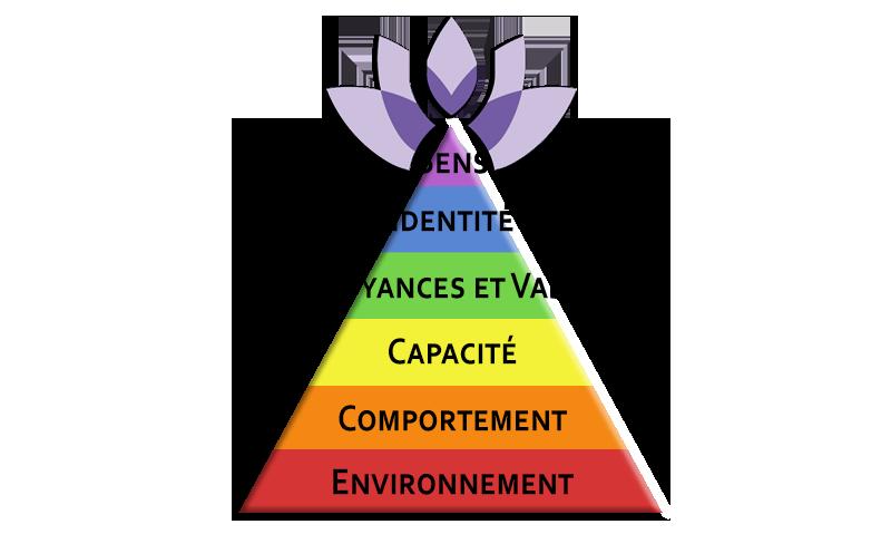 Détachement de Traumatismes® Hypnose PNL Coaching triangle sens, identité, croyances et valeurs, capacité, comportement, environnement