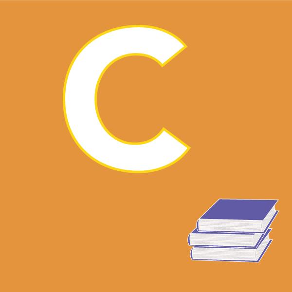 pictogramme C sur fond orange avec livres